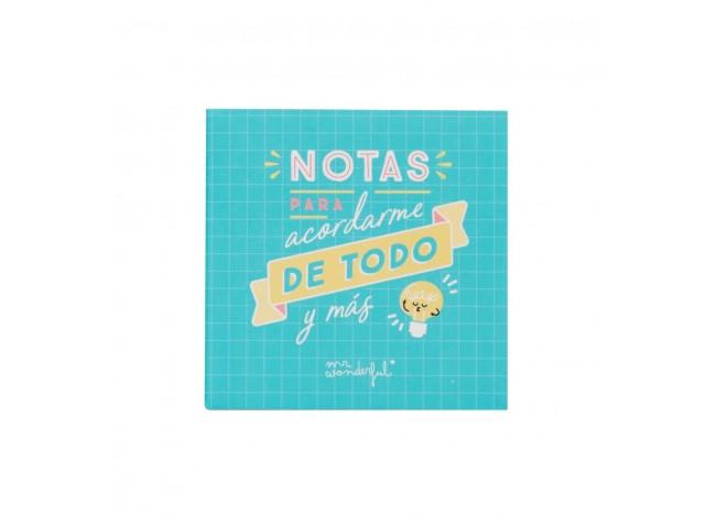 BLOC DE NOTAS Y NOTAS ADHESIVAS MR WONDERFUL. PARA ACORDARME DE TODO Y MÁS